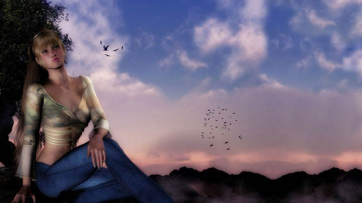 3d Girl Sitting In Top And Jeans At Sunset